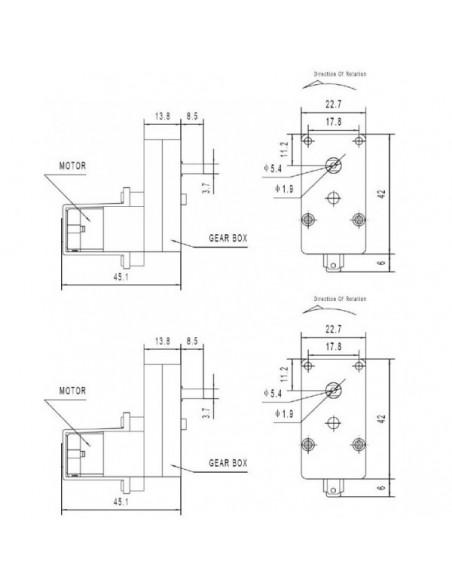 Motor com Engrenagem de Redução 3-6V (90 graus) - Dimensões