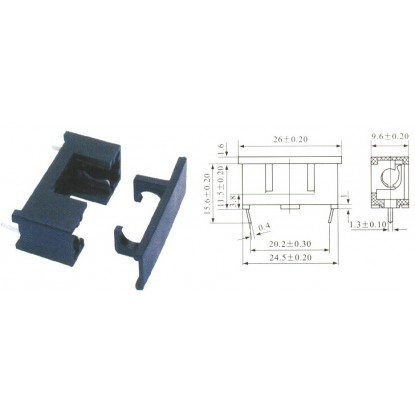 PORTA FUSÍVEL VIDRO PCB (5X20mm)