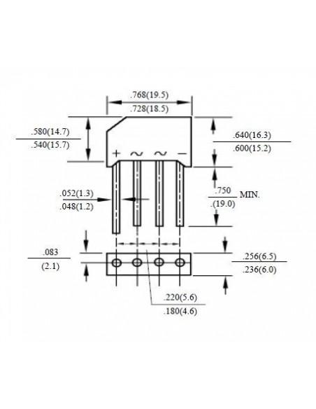 DIODO PONTE RETIFICADORA (1000V/4A) - Dimensões