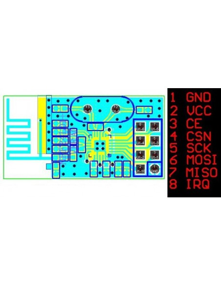 Módulo Transceptor RF de 2,4GHz nRF24L01_pinagem