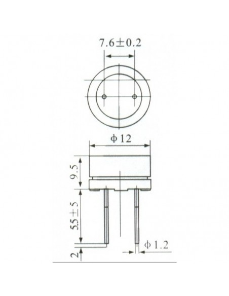 BUZZER 12V (MINI - 12MM) - Dimensões