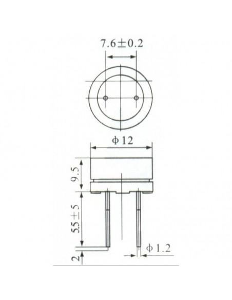 BUZZER 5V (MINI - 12MM) - Dimensões