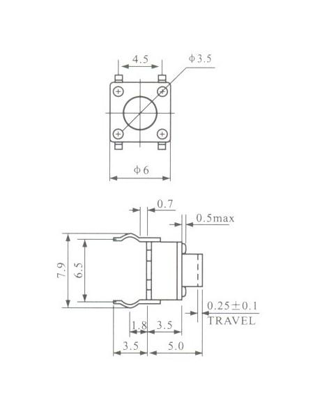 CHAVE TÁCTIL 6x6x5mm - 4T (PRETO) - dimensões