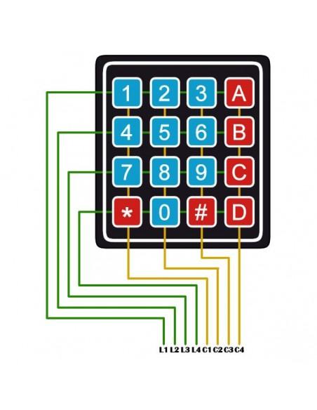 Teclado Matricial 4x4 - Membrana - pinagem