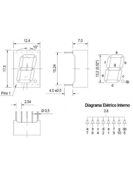 """DISPLAY ANODO COMUM 7SEG. (0,52"""") - Dimensões"""