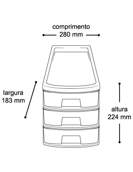 Gaveteiro Organizador 3 Gavetas - Médio (7030) - dimensões