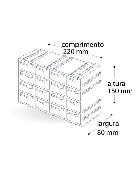 Gaveteiro Organizador 8 Gavetas  (7001) - dimensões