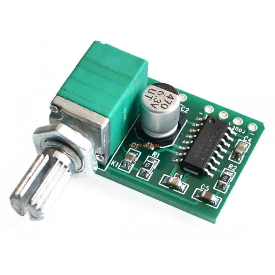 Mini Amplificador de Som Estéreo 2 Canais 3W + 3W com Ajuste de Volume (PAM8403)