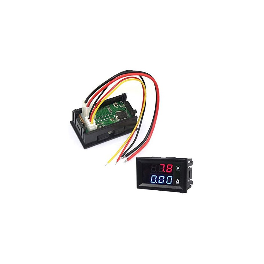 """Mini Voltímetro Digital com Amperímetro 10A/0 a 100VDC de 3 Dígitos de 0,28"""" (Vermelho+Azul)"""