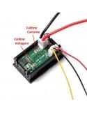 """Mini Voltímetro Digital com Amperímetro 10A/0 a 100VDC de 3 Dígitos de 0,28"""" (Vermelho+Azul) calibração"""