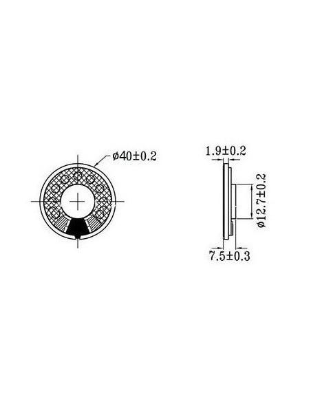 Alto-falante 40mm (8Ω - 0,5W) dimensoes